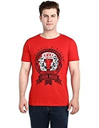 LNDN HOUR Half Sleeves New Divine Stylish Chest Print, Round Neck Cotton Tshirt, Latest High Quality Fashion Garments For Mens / Boys. Red Colour