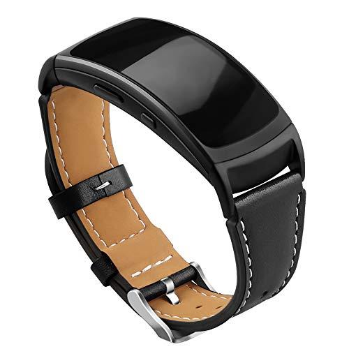 OenFoto kompatibel Gear Fit 2 Pro/Fit 2 Band, Zubehör Ersatzgurt aus Leder für Samsung Gear Fit 2 Pro SM-R365 und Gear Fit 2 SM-R360 Smartwatch-Schwarz -