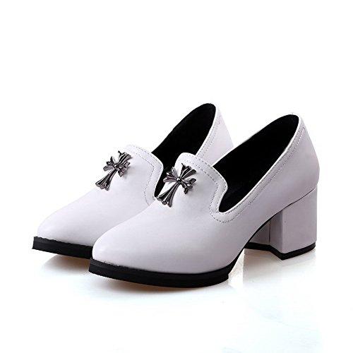 VogueZone009 Femme Tire Fermeture D'Orteil Rond à Talon Correct Chaussures Légeres Blanc