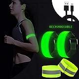 AivaToba Bracciale LED Ricaricabile per Jogging, 4 Pezzi di Nastro Riflettente Riflettente, bracciali Luminosi, Luce da Corsa, riflettori per Bambini, per Corsa, Ciclismo, Cani, Corsa, Corsa