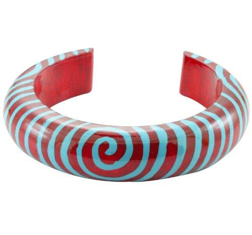 Zebra Armband (Chic-Net Holzarmreif Armreif Holzarmband Armband Holz Damen Schmuck bemalt Zebra Spiral Muster rot blau)