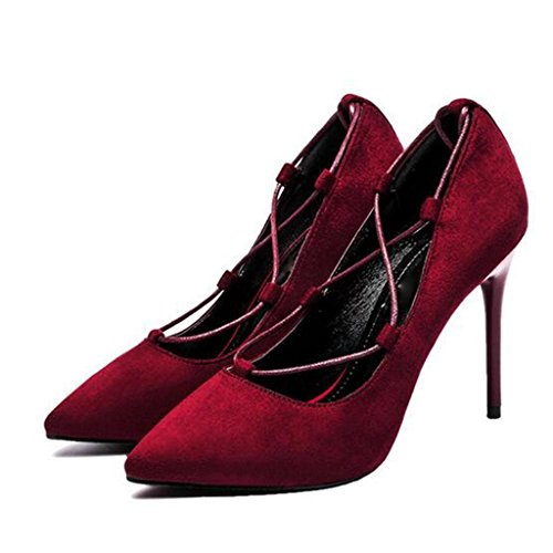 W&LM Mme Talons hauts Plateforme étanche D'accord Chaussures individuelles Sangle Pointe Bouche superficielle Chaussure red dates