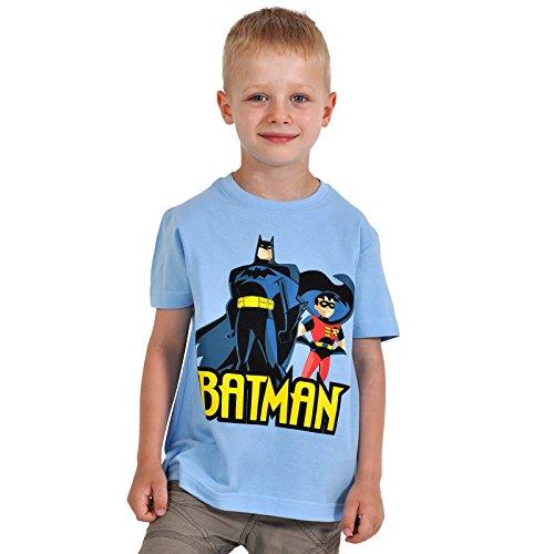 Batman - T-shirt per bambini con motivo stampa di Batman e Robin - Stampa frontale con licenza ufficiale DC Comics - 100% cotone - blu - S
