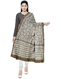 NEEL BATIK - THE BLOCK PRINTS Chanderi Silk Stole For Women (White & Brown) - B078M7G8LJ
