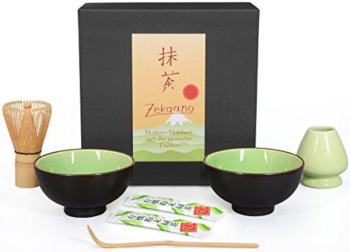 Aricola Matcha-Set 5-teilig, sommergrün, bestehend aus 2 Matcha-Schalen, Matcha-löffel, Matcha-Besen (Bambus) und Besenhalter in Geschenkbox. Original