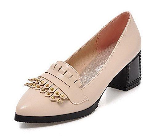 AllhqFashion Damen Spitz Zehe Mittler Absatz Eingelegt Ziehen Auf Pumps Schuhe Cremefarben
