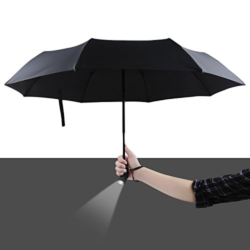 yier-led-automatic-flashlight-umbrella-compact-travel-black-umbrella-with-180-degree-ratate-handle