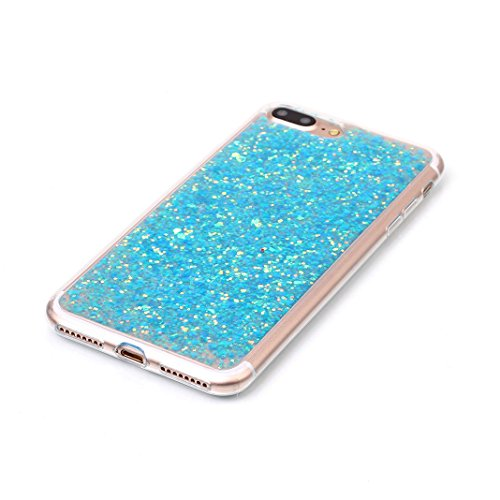 OuDu iPhone 7 PLUS Hülle, Glitzern Funkeln Hülle TPU Silicone Etui für iPhone 7 PLUS Bling Glitter Case Sparkle Style Cover Soft Lightweight Bumper Flexible Schlanke Schale Glatte Leichte Tasche Ultra Hellblau