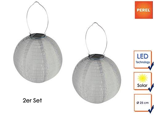 2er Set Weiße Solarlaterne Gartenlampion mit LED, Ø 25cm, Ein/Ausschalter, Wetterfest