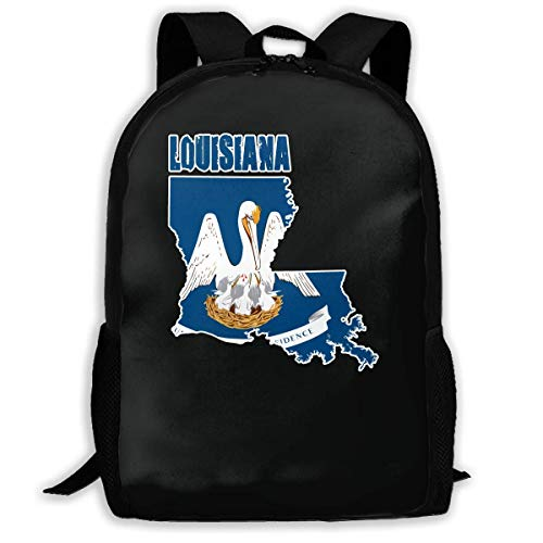 HOJJP Schultasche Flag Map of Louisiana Adult Backpack Great College