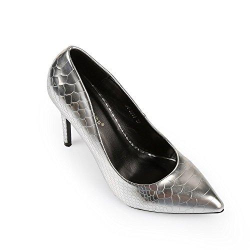 Ideal Shoes–Escarpins vernice effetto rettile Henna Argento