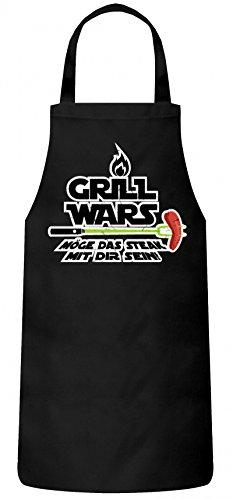 Grillen Grill Garten Party Frauen Herren Barbecue Baumwoll Grillschürze Kochschürze Flamme Grill Wars - Möge das Steak mit Dir sein, Größe: onesize,Schwarz