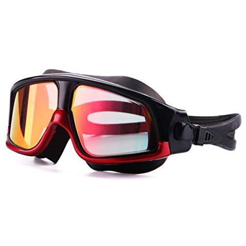 YYSWIM Verspiegelte Schwimmbrille, Bunte Galvanische Schutzbrille des Großen Rahmens Beschützende wasserdichte Polarisationsbeschichtung des Nebels, Rot 1