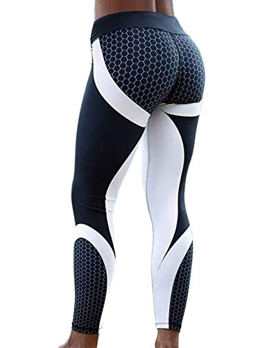02c84bc011072 RIOJOY Digital Print Leggings for Women, Honeycomb Pattern Graphic Stretchy Gym  Workout Tights, Slim