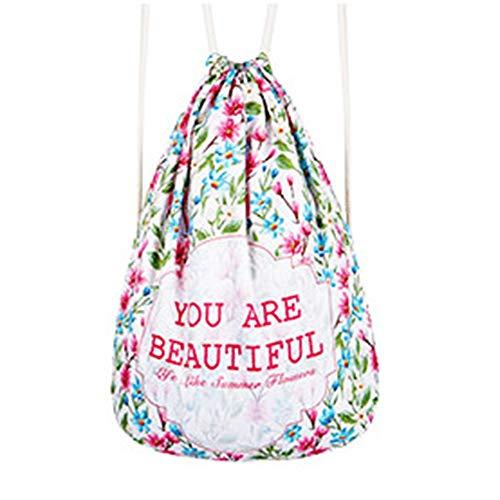 Personnalité de fleur coloré Sac à dos DrawString Backpack Polyester de haute qualité Moins négatif Negative Respirant Sac de Yoga Sac À Dos Unisexe Bundle Pocket Convient for Fitness Shopping, Taille