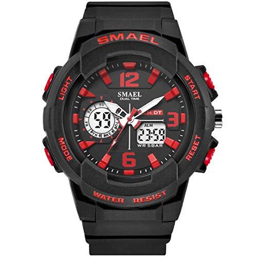 Blisfille Frauen Uhr Wasserdicht Wasserdicht Herrenuhr Partner Armbanduhr Multifunktional Schwarz Rot Outdoor Sportuhr Armbanduhr Automatikuhr