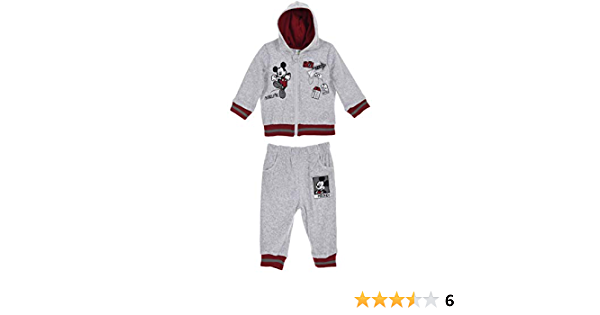 Disney Mickey Mouse Baby Boys Clothing Outfit Tracksuit Set Joggers Hoodie Warm Velvet Grey 12