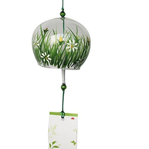Furin japonés campanas de viento, arte de cristal Craft boda cumpleaños Navidad día de la madre regalo hogar cocina oficina (Oasis jardín Patio césped y flores)