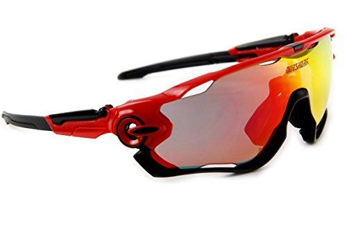 Queshark Fahrradbrille Sport Sonnenbrille für Herren und Damen Polarisierte, Sportbrille mit 3 Wechselobjektiven und Frauen Radsports - 4
