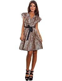 e90d859b89f1 Toocool - Vestito Donna Scollato Leopardato Zebra Animalier Elegante Abito  Sexy AS-8228
