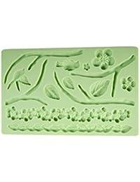 Auket Relief d'oiseau de fleur de silicone de gâteau de fondant de coupeur de biscuit de bord Border déco # 118 (3DMold-118)