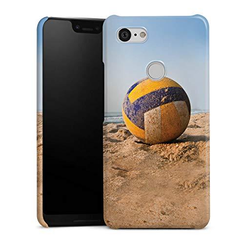 DeinDesign Premium Case kompatibel mit Google Pixel 3 XL Hülle Handyhülle Volleyball Sand Hobby