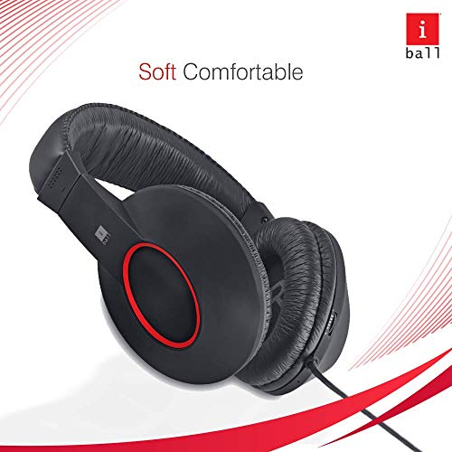 iBall EarWear Rock, Pitch Perfect Sound, Over-Ear Wired Headphones with Mic, Black & Red Image 3