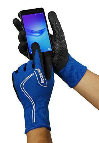 Rostaing Serie Touch Handschuhe Übergangsjacke Handfläche Kletterpflanze Funktion Telefonnummer Touchscreen + LEASH Handgelenk, Schwarz/Blau, 34x 12x 3cm