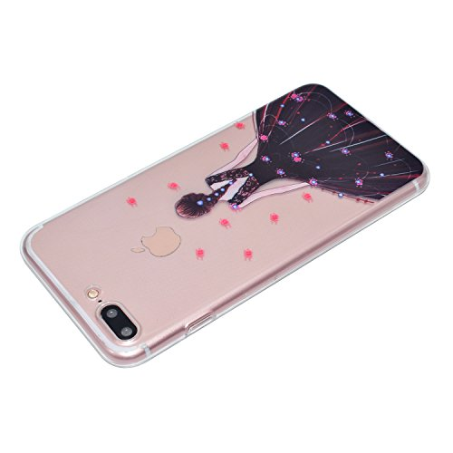 iPhone 7 Plus 5.5 Hülle, Voguecase Silikon Schutzhülle / Case / Cover / Hülle / TPU Gel Skin für Apple iPhone 7 Plus 5.5(Wellenpunkt Mädchen) + Gratis Universal Eingabestift Schwarzes Kleid Mädchen 01