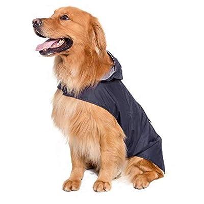 Bwiv Extra Large Hooded Dog Raincoat With Reflective Strips 100% Waterproof Dog Rain Jacket by Bwiv