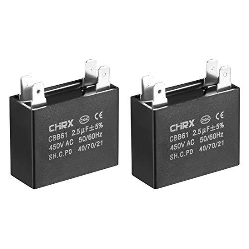 sourcing map CBB61 Esegui condensatore 450V AC 2.5uF doppio metallizzato inserto condensatori film polipropilene per ventilatore soffitto 2pz.