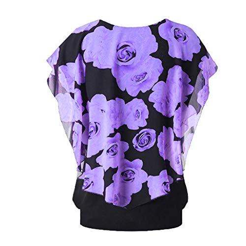 CUTUDE Damen Sommer Rundhalsausschnitt Plus Size Chiffon Ärmel Print Top Double Layer T-Shirt (Lila, XX-Large)