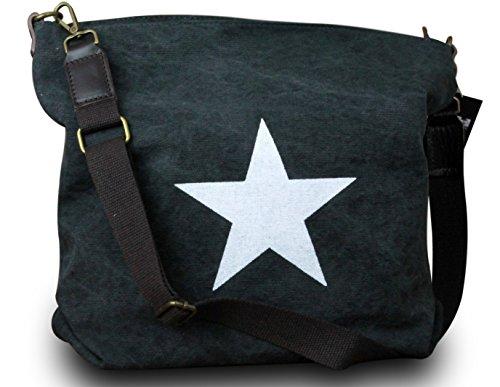 c6426194458c2 My-Musthave ital. Shopper Canvas Stern-Tasche mit Stern Schultertasche  Canvas Vintage