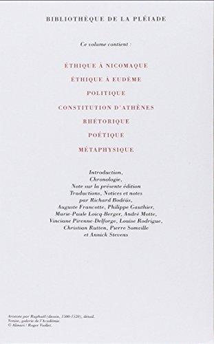 Œuvres : Éthiques, Politique, Rhétorique, Poétique, Métaphysique