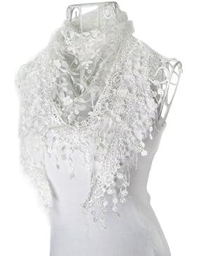 Tefamore Bufanda Mantilla de Triángulo Impresión Flor Mujer Chal De Moda De Encaje