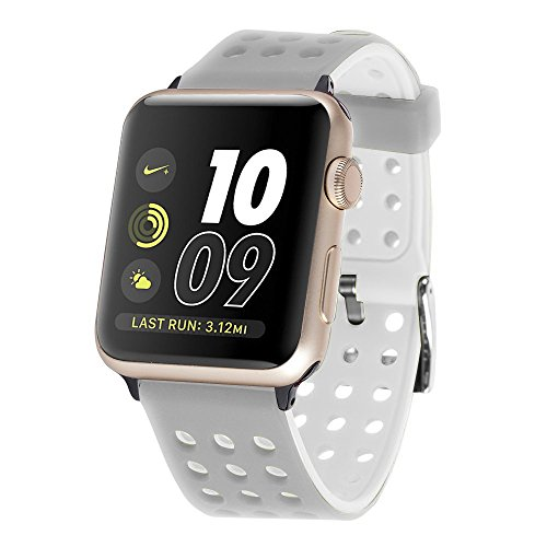 Huishang Cinturino per Apple Watch Series 1 / 2, Apple Watch Band Strap di silicone Banda Bracciale per Apple Watch (38mm, Grey/White)