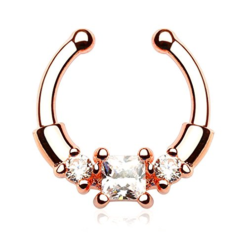 Kultpiercing - Nasenpiercing Septum Clicker Fake Novel Kristall Rotgold