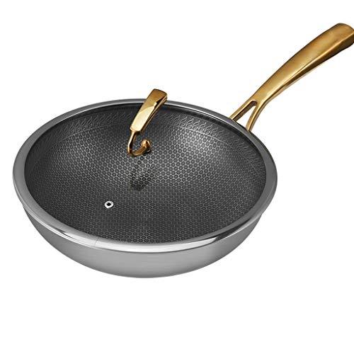 Unbekannt 304 Edelstahl-Flachboden, Multifunktions-Haushalts-Pan-Wok mit vergoldetem Griff, Stir Fry Wok Pan-Kochgeschirr mit Glasdeckel, schnelle Wärmeableitung und einfache Reinigung