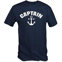 Capitán Ancla Náutico Navegación Camiseta - Azul marino, XX-Large