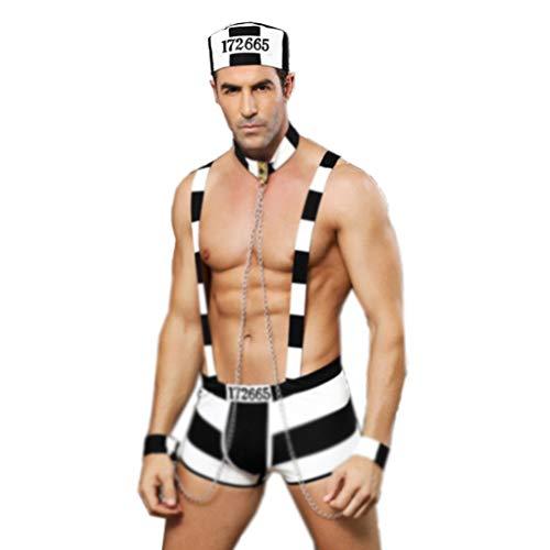 GQMG Sexy Dessous Für Männer Sex Unterwäsche, Sexy Neue Ankunft Sträfling Zombie Schwarz Weiß Streifen Gefangene Kostüm Halloween Kostüm Für Männer Party Cosplay