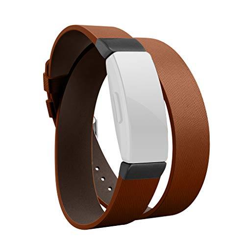 SEWORLD Armband Kompatibel für Fitbit Inspire/Inspire HR,Doppelte Tour Lederarmband mit Armbanduhr Ersatzarmbänder Handschlaufe Armbandersatz UhrBand Quick Release...