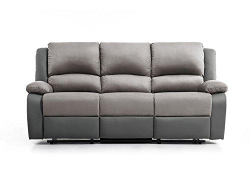 UsineStreet Canapé Relaxation 3 Places Microfibre/Simili DETENTE - Couleur - Gris