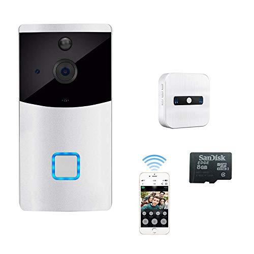 Weiß Video Türklingel Monitor Kamera Gegensprechfunktion, PIR Bewegungsmelder 720p HD WiFi Türglocken, ip Überwachungskameras Kabellose Doorbell, App-Steuerung für iOS und Android IR Nachtsicht Modus -