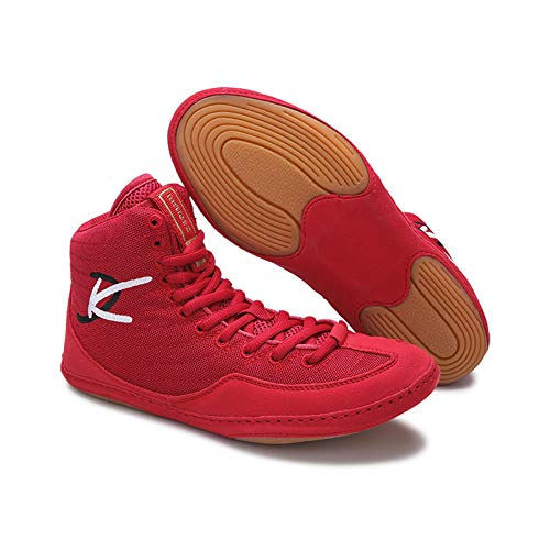 TTXLY Boxschuhe Sehnensohlen Fitness Anti-Rutsch-Wrestling-Schuhe Sportschuhe Sportschuhe Sanda-Schuhe Fight Fighting Training-Schuhe,Rot,42/273mm