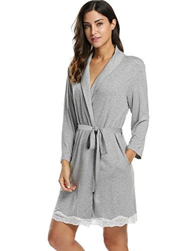 Avidlove Morgenmantel Damen Baumwolle kurz mit Spitze schwarz grau