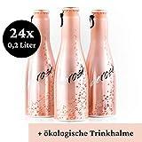 Justbe Rosé | 24 x 0,2 L | spritziger Rosato Frizzante | elegante Aluminiumflaschen | Aperitif | Party-Drink | Perlwein | Piccolo | inkl. Trinkhalme