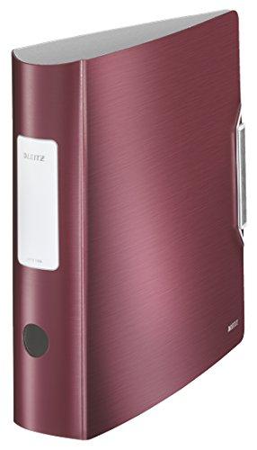 Leitz 11080028 Multifunktions-Ordner (A4, Runder Rücken, 8,2 cm Breite, Gummibandverschluss, Kunststoff, Active Style) granat rot