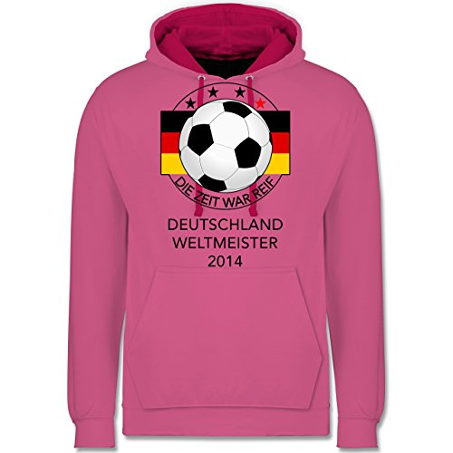 Fußball - Deutschland Weltmeister 2014 - Die Zeit war reif - Kontrast Hoodie Rosa/Fuchsia