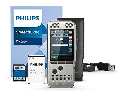 Philips DPM7000 Digitales Diktiergerät Aufnahmegerät, Bedienung per Schiebeschalter, 2 Mikrofone für ausgez. Stereo-Tonaufnahmen, Farbdisplay, Edelstahlgehäuse, inkl. Diktiersoftware SpeechExec 10