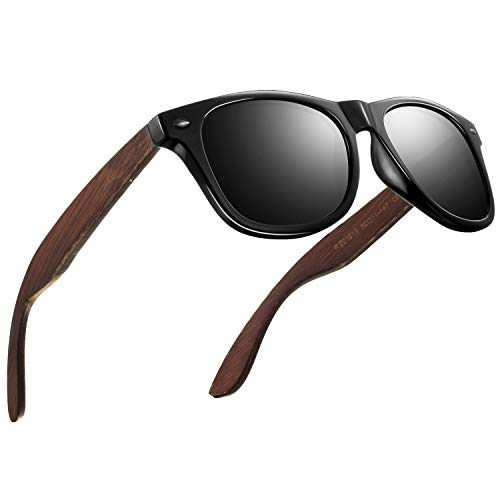 FEIDU Sonnenbrille herren holz Zwei Stile zur Auswahl - Polarisierte sonnenbrille holz Klassischer Stil Und Einfacher Stil Unisex FD 9003H (Helles Schwarz-Klassischer, 50)